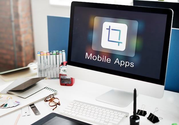 Concetto di creatività dell'illustratore di progettazione di applicazioni mobili