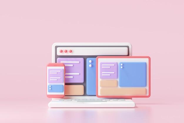 Applicazione mobile, software e sviluppo web con forme 3d, grafico a barre, un'infografica su sfondo rosa. rendering 3d