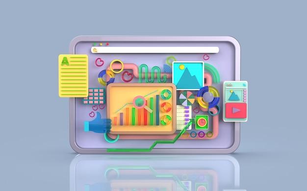 Software per applicazioni mobili e sviluppo web con rendering infografico di grafici a barre di forme 3d