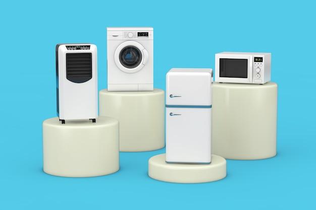 Condizionatore mobile dispositivo di raffreddamento, lavatrice, frigorifero e forno a microonde su sfondo blu. rendering 3d