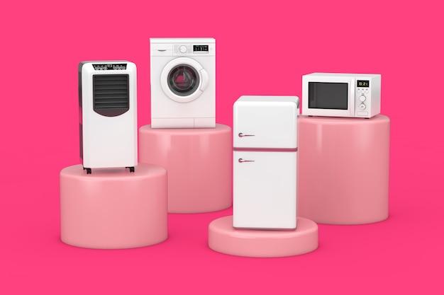 Condizionatore mobile frigorifero, lavatrice, frigorifero e forno a microonde su sfondo rosa. rendering 3d