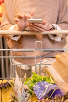 Acquirente mobile femminile utilizza lo smartphone sul carrello con sacchetti di carta contenenti prodotti alimentari durante la visita al supermercato