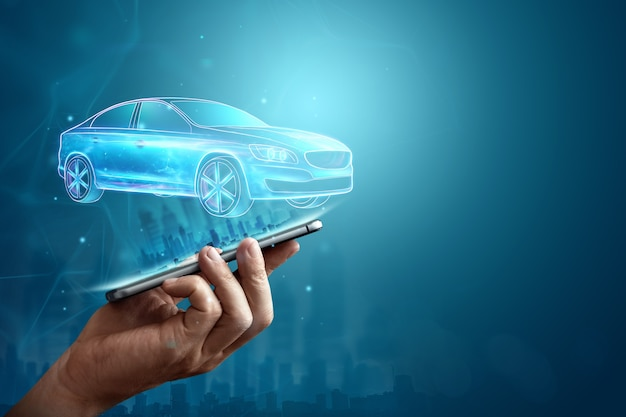 Navigazione gps mobile, immagine ologramma di un'auto che esce dallo schermo dello smartphone.