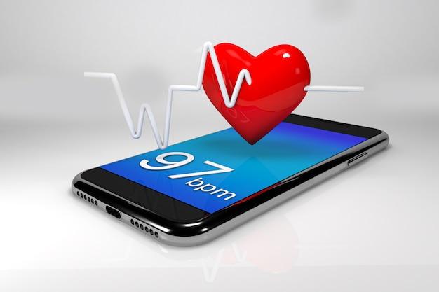 Mobile e un cuore concetto di tecnologie mediche online