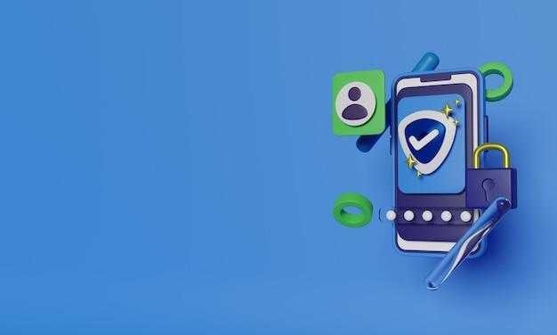 Protezione dei dati personali mobili. rendering 3d