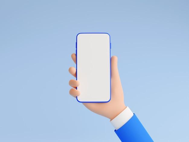 Il modello del telefono cellulare in mano umana 3d rende l'illustrazione. mano in tailleur blu che tiene smartphone con touch screen bianco vuoto - banner mockup gadget su sfondo blu.