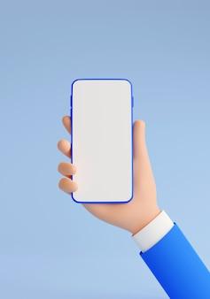 Il modello del telefono cellulare in mano umana 3d rende l'illustrazione. mano in tailleur blu che tiene smartphone con touch screen bianco vuoto - banner verticale su sfondo blu.