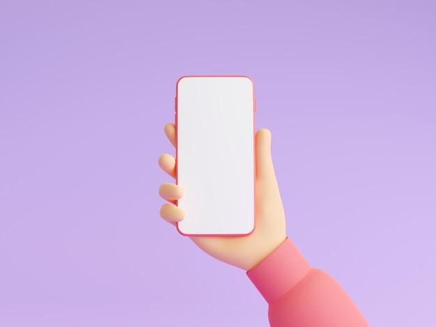 Il modello del telefono cellulare in mano umana 3d rende l'illustrazione. mano in vestiti rosa che tengono smartphone con touch screen bianco vuoto. smart gadget digitale in braccio su sfondo viola.