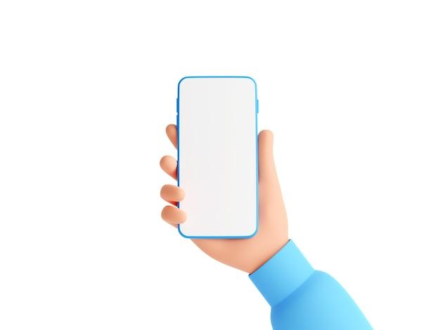Il modello del telefono cellulare con lo schermo bianco vuoto in mano umana 3d rende l'illustrazione. mano in maglione rosa che tiene smartphone. gadget digitale mobile in braccio isolato su priorità bassa bianca.