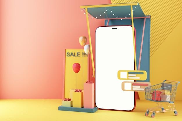 Il telefono cellulare rappresenta la parte anteriore del negozio del negozio. acquisti online sul concetto di applicazione mobile marketing digitale con carrello su colori pastello con barra di comunicazione e barra delle statistiche rendering 3d
