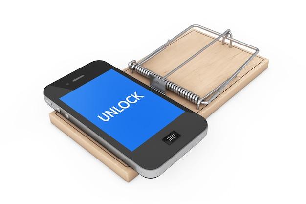 Concetto di sicurezza del telefono cellulare. telefono cellulare con segno di sblocco su trappola per topi in legno su sfondo bianco. rendering 3d.
