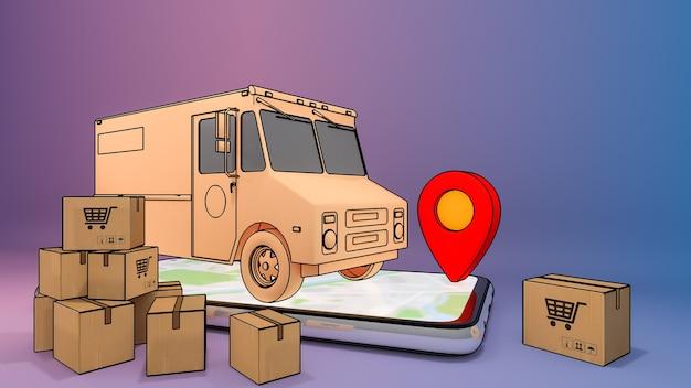 Telefono cellulare e furgone del camion con molte scatole di carta e puntatori rossi