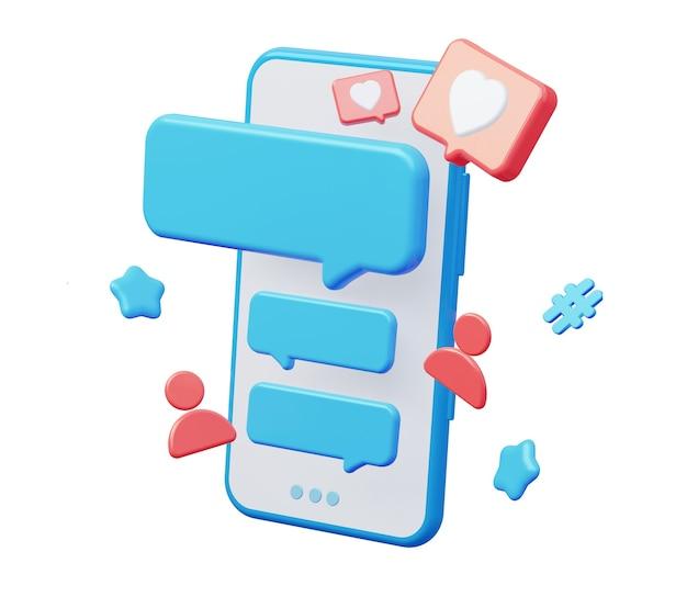 Telefono cellulare con chat sui social media isolato su sfondo bianco. rendering 3d