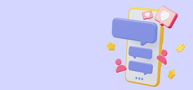 Telefono cellulare con chat sui social media con spazio vuoto