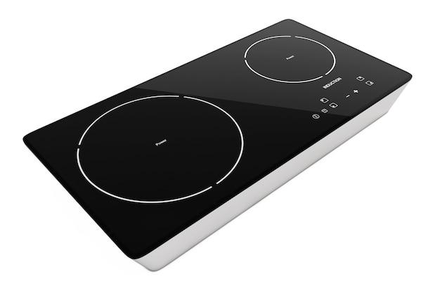 Fornello a induzione portatile mobile su uno sfondo bianco. rendering 3d. Foto Premium