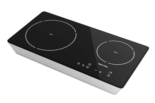 Fornello a induzione portatile mobile su uno sfondo bianco. rendering 3d.