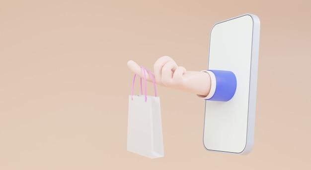 Concetto di acquisto mobile. cartone animato mano di un fattorino con una borsa della spesa, illustrazioni 3d