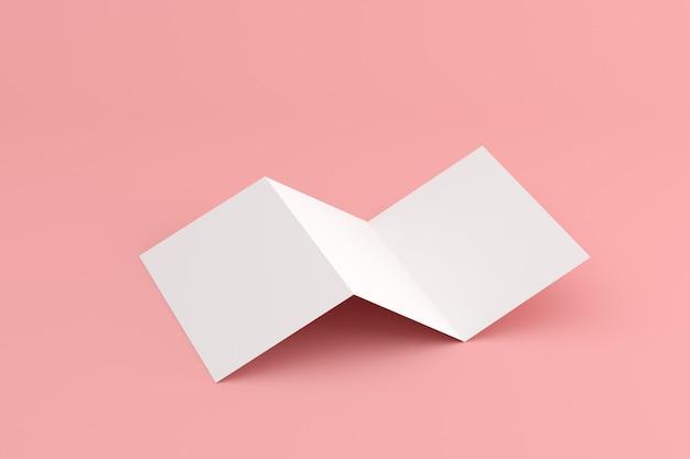 Manichino di opuscolo bianco bianco su spazio rosa.