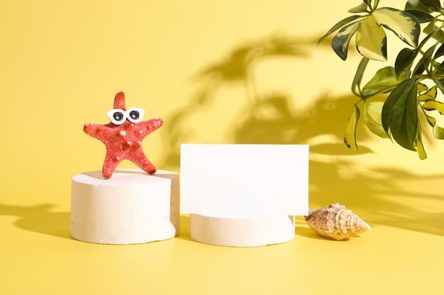 Mock up biglietto da visita su piedistallo con stelle marine creative in occhiali da sole sullo sfondo di un duro ...