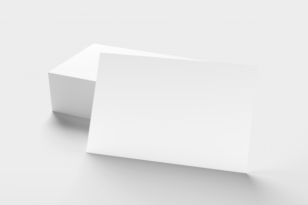 Derida su del businesscard su un fondo bianco - rappresentazione 3d