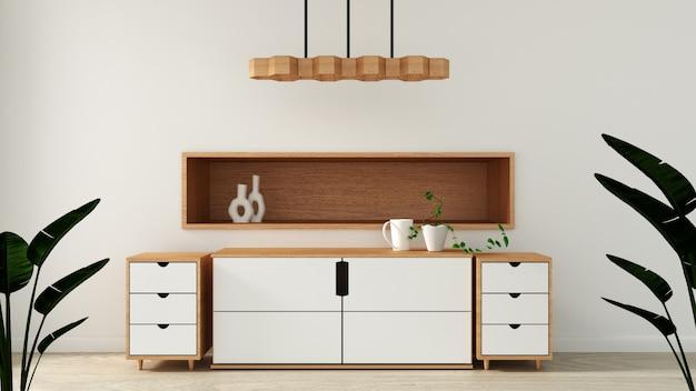 Mock up, armadietto nella moderna stanza vuota, design minimal giapponese della stanza zen