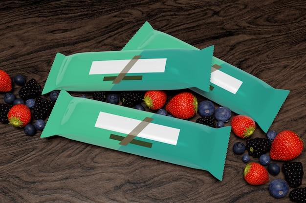 Derida su di una barra del cereale che imballa sul calcestruzzo con i frutti rossi - rappresentazione 3d