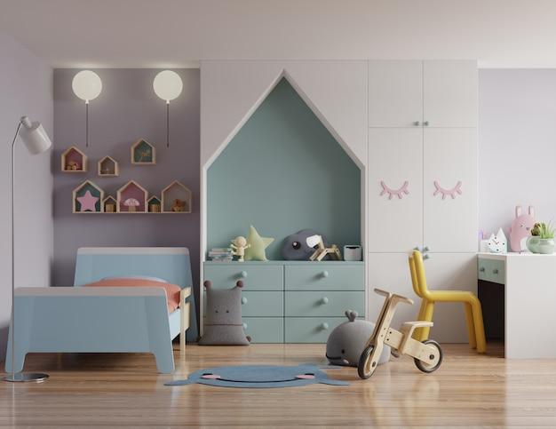 Mock up camera dei bambini con una casa sul tetto e pareti bianche
