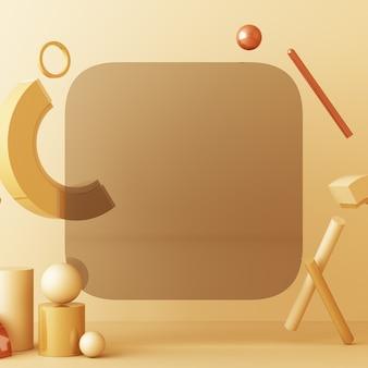 Mock up composizione di forma geometrica oro e struttura in vetro con podio color crema marrone per prodotto