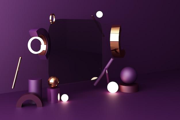 Mock up composizione di forma geometrica oro e struttura in vetro con podio di colore viola per prodotto