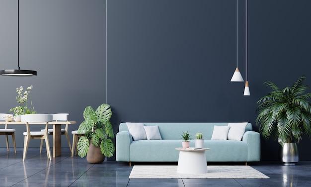 Mock up divano a parete scura e accessori nel soggiorno. rendering 3d