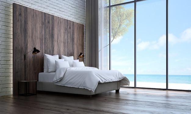Mock up e decorazione e camera da letto e sfondo del muro di cemento e vista sul mare