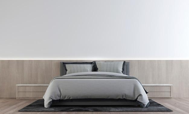 Il mock up decorazione del design degli interni della camera da letto e del muro di cemento