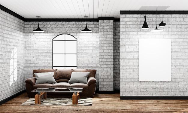 Mock up - interno vuoto in stile loft con divano e lampada e cornice. 3d