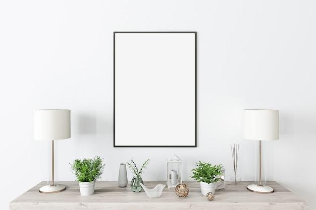 Mock up frame nero con decorazioni moderne