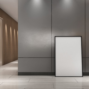 Mock up frame sulla parete grigia nell'area del corridoio, stile moderno, poster mockup, rendering 3d, illustrazione 3d
