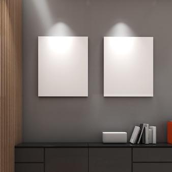 Mock up frame su parete grigia con mobile basso, stile moderno, poster o foto mockup, rendering 3d