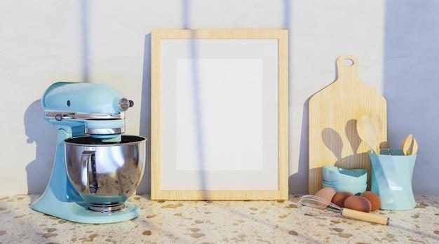 Mock-up di un telaio con accessori da cucina sui lati e un grande miscelatore blu