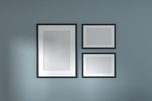 Mock up frame da vicino sullo sfondo interno della casa, stile minimal. rendering 3d.