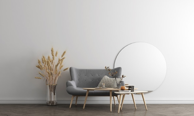 Il mock up design di mobili in interni moderni in background, accogliente soggiorno, stile scandinavo, rendering 3d, illustrazione 3d