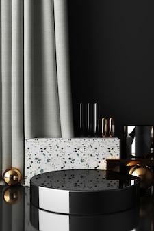 Mock up forma geometrica oro e struttura in vetro con podio di colore nero per il prodotto