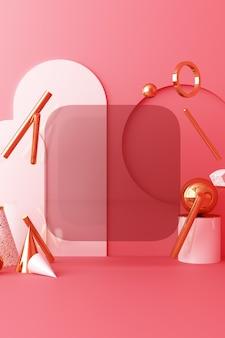 Mock up forma geometrica oro e struttura in vetro con podio di colore rosa per il prodotto