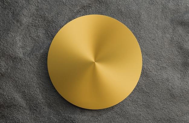 Mock up piatto dorato su sfondo nero muro di pietra., modello 3d e illustrazione.