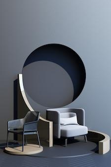 Mock up grigio e oro texture astratta moda studio minimal forma geometrica tendenza con poltrona grigia su piattaforma podio. rendering 3d