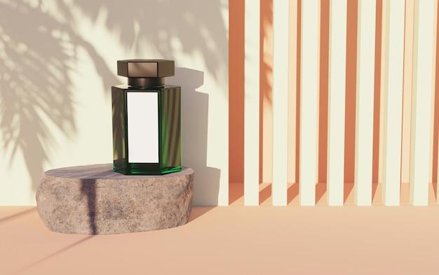 Mock-up della barca di vetro verde con etichetta bianca su una roccia e sfondo astratto di forme lineari e ombra di palma. rendering 3d