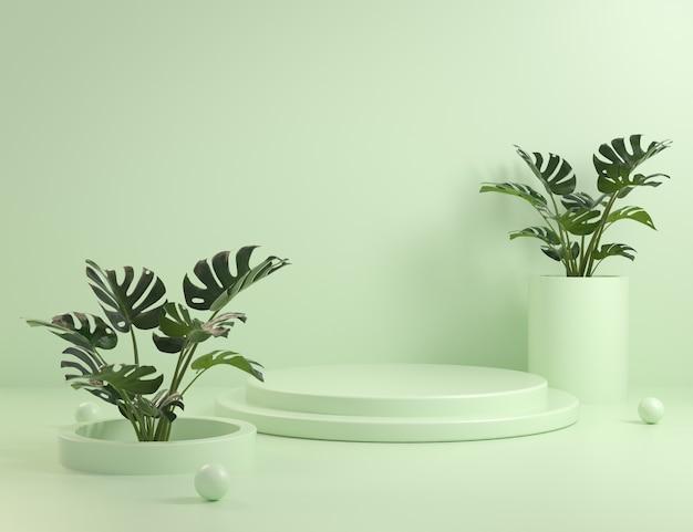 Manichino di gradini di podio verde e piante monstera 3d rendering