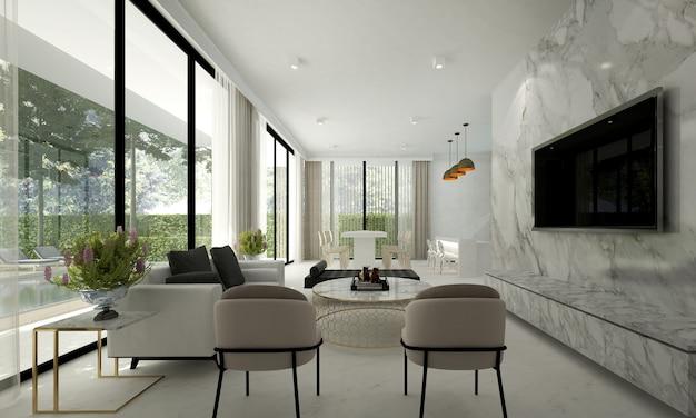 Il mock up decorazione di design d'interni del soggiorno moderno e sfondo muro di marmo bianco