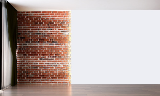The mock up interior design decoration of modern loft and empty living room and brick wall background
