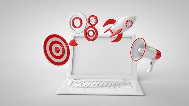 Mock up laptop, altoparlante, target, impostazioni, razzo