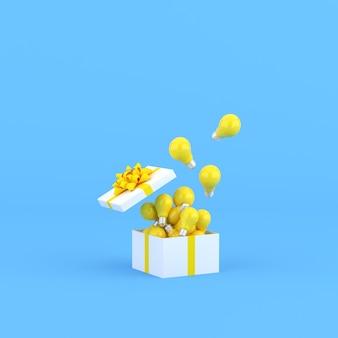 Mock up di lampadine in una confezione regalo aperta su sfondo blu. rappresentazione 3d.