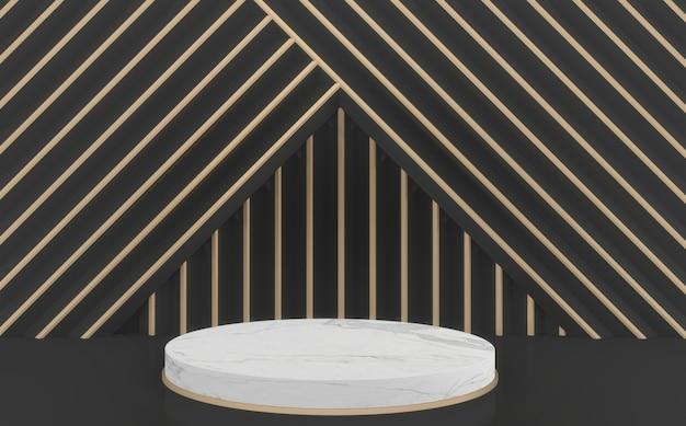 Mock up moderno sfondo nero e oro e podio cerchio bianco.